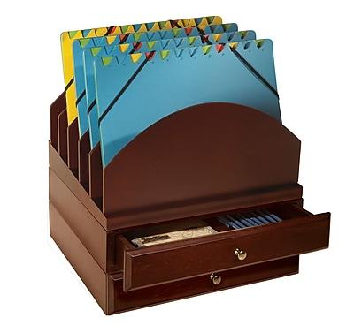 Bindertek Stacking Wood Desk Organizers Step Up File & 2-Drawer Kit, Mahogany (WK9-MA)