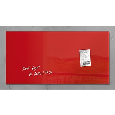 Sigel – Tableau de verre magnétique de style contemporain, 36 x 18 po, rouge (SGBOARD36-RD)