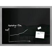 "Sigel 47"" x 36"" Contemporary Magnetic Glass Board, Black (SGBOARD47-BK)"