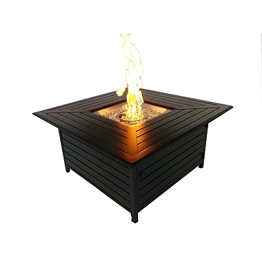 Paramount FP-272-HB Square Outdoor Propane Firepit Table Cast Aluminum