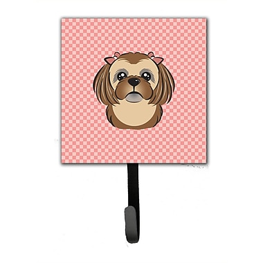 Caroline's Treasures Checkerboard Chocolate Brown Shih Tzu Leash Holder and Wall Hook