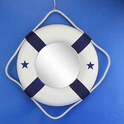 Handcrafted Nautical Decor Life Ring Mirror; Blue