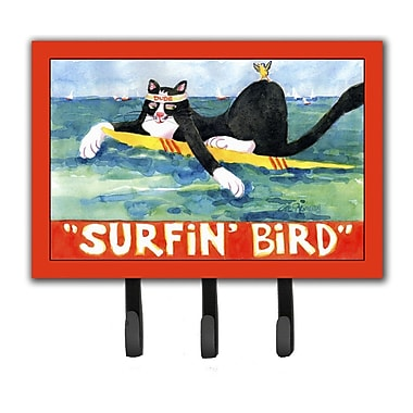 Caroline's Treasures Cat Surfin Bird Leash Holder and Key Hook