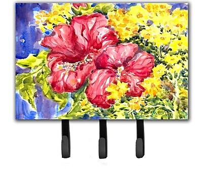 Caroline's Treasures Hibiscus Flower Leash Holder and Key Hook