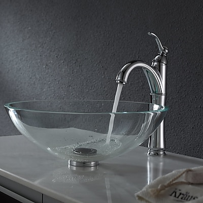 Kraus Crystal Glass Circular Vessel Bathroom Sink; Chrome