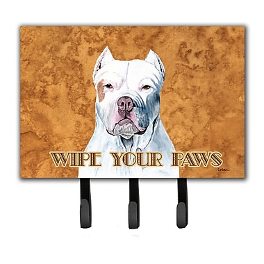 Caroline's Treasures Pit Bull Wipe Your Paws Leash Holder and Key Hook