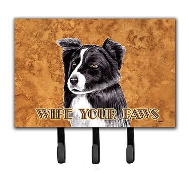 Caroline's Treasures Border Collie Wipe Your Paws Leash Holder and Key Hook