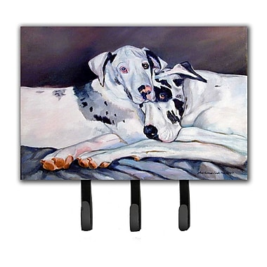 Caroline's Treasures Harlequin Natural Great Danes Leash Holder and Key Hook