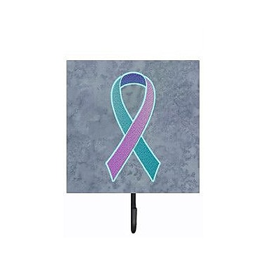 Caroline's Treasures Ribbon For Thyroid Cancer Awareness Leash Holder and Wall Hook