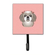 Caroline's Treasures Checkerboard Gray Silver Shih Tzu Leash Holder and Wall Hook