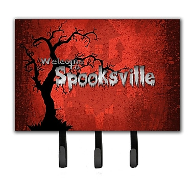 Caroline's Treasures Welcome To Spooksville Halloween Leash Holder and Key Hook