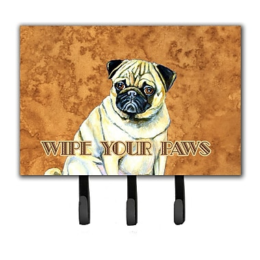 Caroline's Treasures Fawn Pug Wipe Your Paws Leash Holder and Key Hook