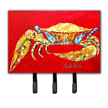 Caroline's Treasures Crab Blue on Red, Sr Leash Holder and Key Hook
