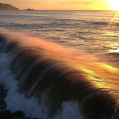 3 Panel Photo Breaking Waves at Sunset by Michie Sharine Photographic Print on Wrapped Canvas