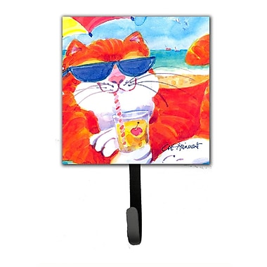 Caroline's Treasures Cool Cat w/ Sunglasses at The Beach Leash Holder and Wall Hook