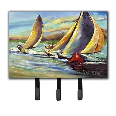 Caroline's Treasures Knost Regatta Pass Christian Sailboats Leash Holder and Key Hook