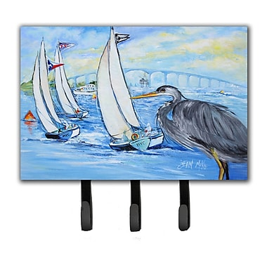 Caroline's Treasures Heron Sailboats Dog River Bridge Leash Holder and Key Hook