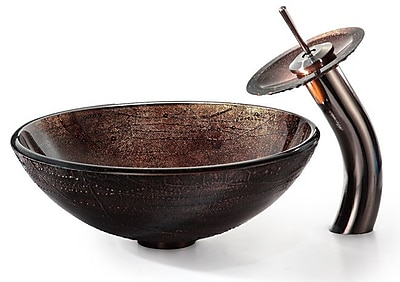 Kraus Copper Glass Circular Vessel Bathroom Sink; No Mounting Ring