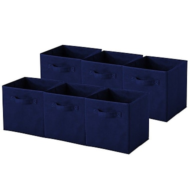 Sivan Collapsible Storage Cube (Set of 6); Navy Blue