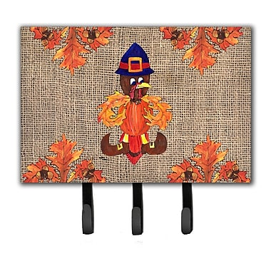 Caroline's Treasures Thanksgiving Turkey Pilgrim Fleur De Lis Leash Holder and Key Holder