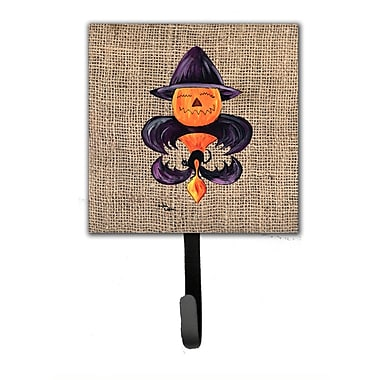 Caroline's Treasures Halloween Pumpkin Bat Fleur De Lis Leash Holder and Wall Hook
