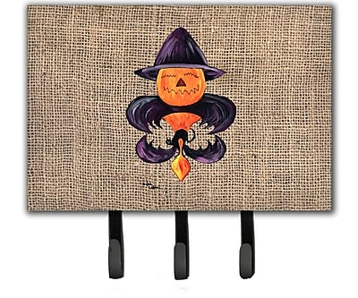 Caroline's Treasures Halloween Pumpkin Bat Fleur De Lis Leash Holder and Key Holder