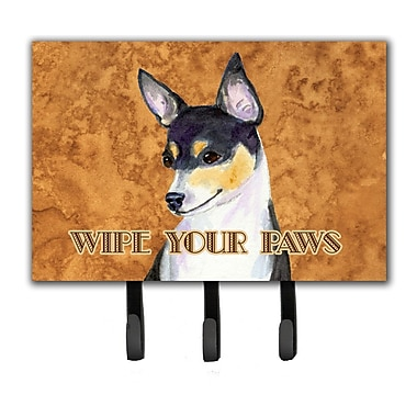 Caroline's Treasures Toy Fox Terrier Wipe Your Paws Leash Holder and Key Holder