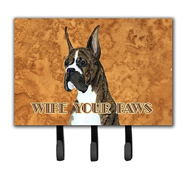 Caroline's Treasures Brindle Boxer Wipe Your Paws Leash Holder and Key Holder