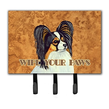 Caroline's Treasures Papillon Wipe Your Paws Leash Holder and Key Hook