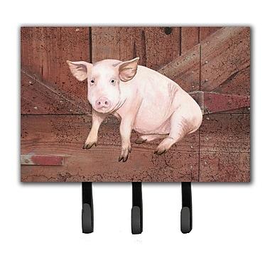 Caroline's Treasures Pig at The Barn Door Leash Holder and Key Hook