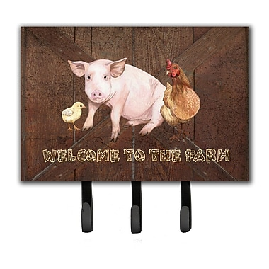 Caroline's Treasures Welcome To The Farm w/ The Pig and Chicken Leash Holder and Key Hook
