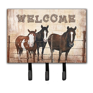 Caroline's Treasures Welcome Mat w/ Horses Leash Holder and Key Hook