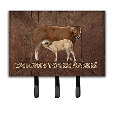 Caroline's Treasures Welcome To The Ranch w/ The Cow and Baby Leash Holder and Key Hook