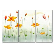 3 Panel Photo Flowers 3 Piece Graphic Art on Canvas Set