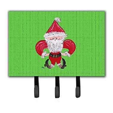 Caroline's Treasures Christmas Fleur De Lis Santa Claus Leash Holder and Key Hook