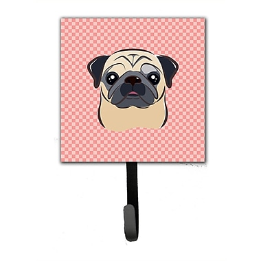 Caroline's Treasures Checkerboard Fawn Pug Leash Holder and Wall Hook
