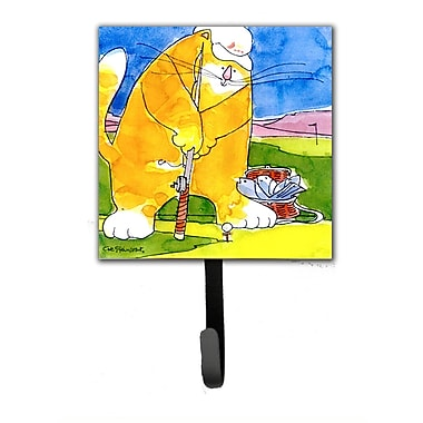 Caroline's Treasures Big Cat Golfing w/ a Fishing Pole Leash Holder and Wall Hook