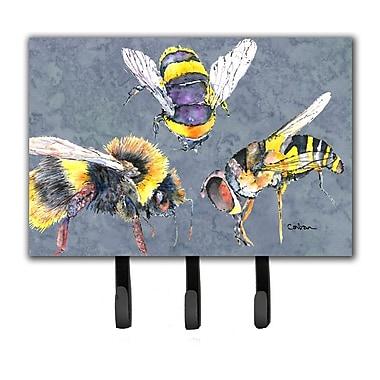 Caroline's Treasures Bee Bees Times Three Leash Holder and Key Hook