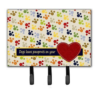 Caroline's Treasures Dogs Leave Pawprints on Your Heart Leash Holder and Key Hook
