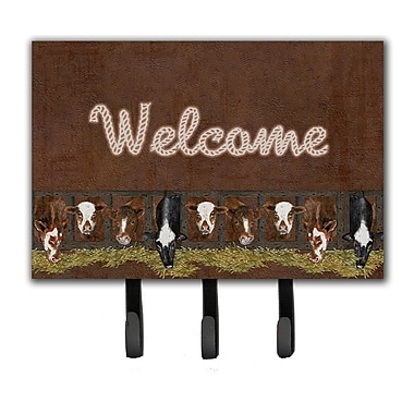 Caroline's Treasures Welcome Mat w/ Cows Leash Holder and Key Hook
