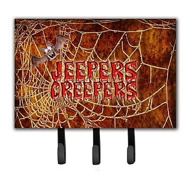 Caroline's Treasures Jeepers Creepers w/ Bat and Spider Web Halloween Leash Holder and Key Hook