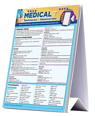 BarCharts, Inc. - QuickStudy Medical Terminology Reference Easel Reference Set 1932982