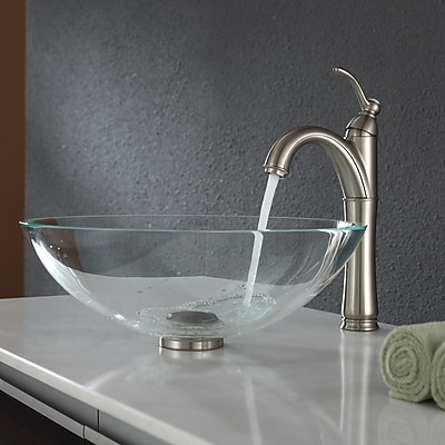 Kraus Crystal Glass Circular Vessel Bathroom Sink; Satin Nickel
