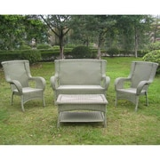International Caravan San Tropez 4 Piece Lounge Seating Group; Antique Moss