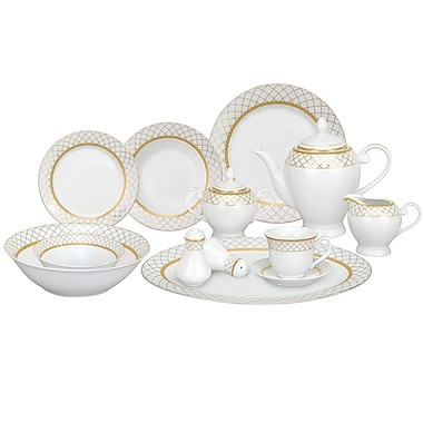 Lorren Home Trends Beatrice Porcelain 57 Piece Dinnerware Set, Service for 8