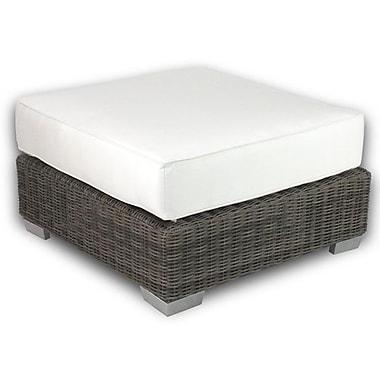 Patio Heaven Palisades Ottoman w/ Cushion; Eggshell