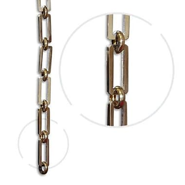RCH Supply Company Rectangle Hinge Chain; Polished Brass