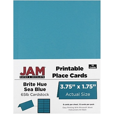 JAM Paper® Printable Place Cards, 1.75 x 3.75, Brite Hue Sea Blue Placecards, 2 packs of 12 (225928557g)