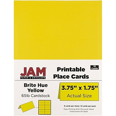 JAM Paper® Printable Place Cards, 1.75 x 3.75, Brite Hue Yellow Placecards, 2 packs of 12 (225928558g)