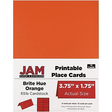 JAM Paper® Printable Place Cards, 1.75 x 3.75, Brite Hue Orange Placecards, 2 packs of 12 (225928559g)